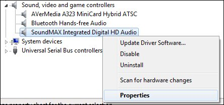 Device Manager, audio device properties